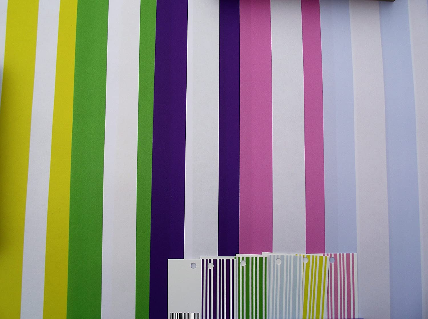 10 SHEETS OF STRIPES WRAPPING PAPER & 5 GIFT TAGS (2 sheets of 5 different colours) audsemporium ltd