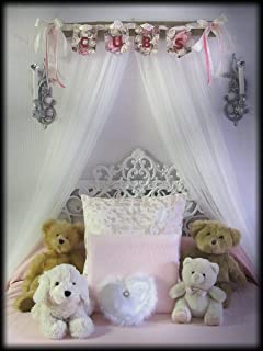 Shabby Chic Princess Bed Crown Canopy Crib Baby Nursery Decor Princess Girlu0027s Bedroom FREE White SaLe & Amazon.com: Victorian Scrollwork BED CROWN Tester Wrought Iron ...