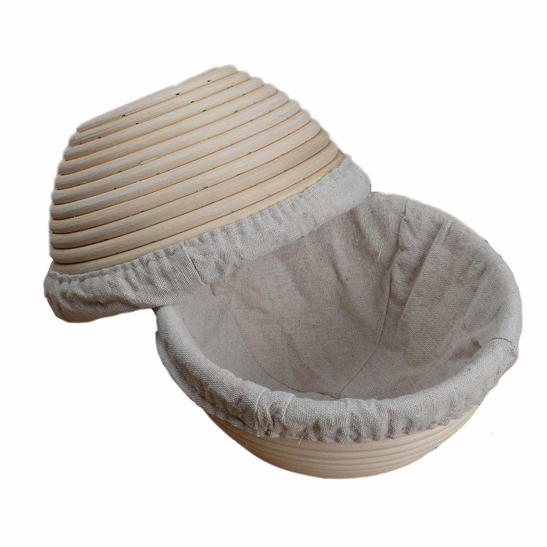 Cestino Banneton rotondo in legno rattan per la lievitazione del pane, diametro 18 cm, con rivestimento in lino, 2 pezzi, prodotto nel Regno Unito ifsecond