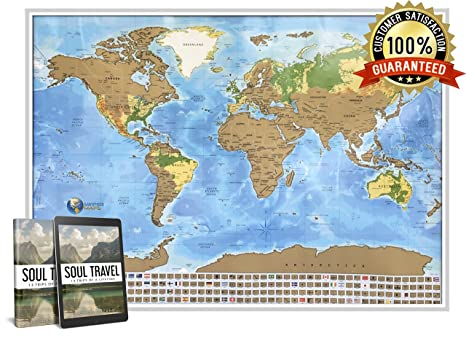 Amazon scratch off travel map of the world easy to scratch scratch off travel map of the world easy to scratch off world travel map tracker gumiabroncs Image collections