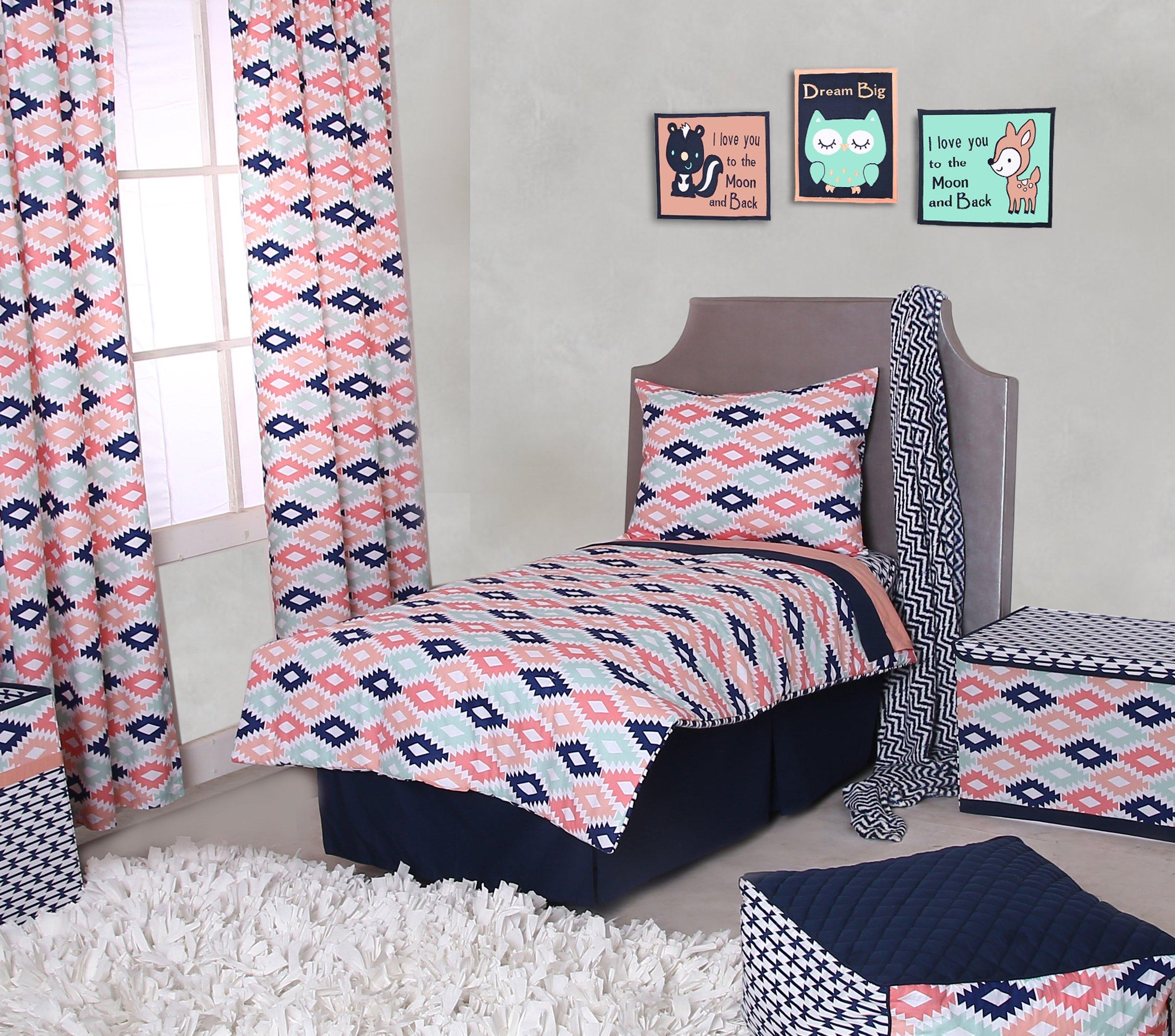 Bacati Emma Aztec 4 Piece Toddler Bedding Set, Coral/Mint/Navy