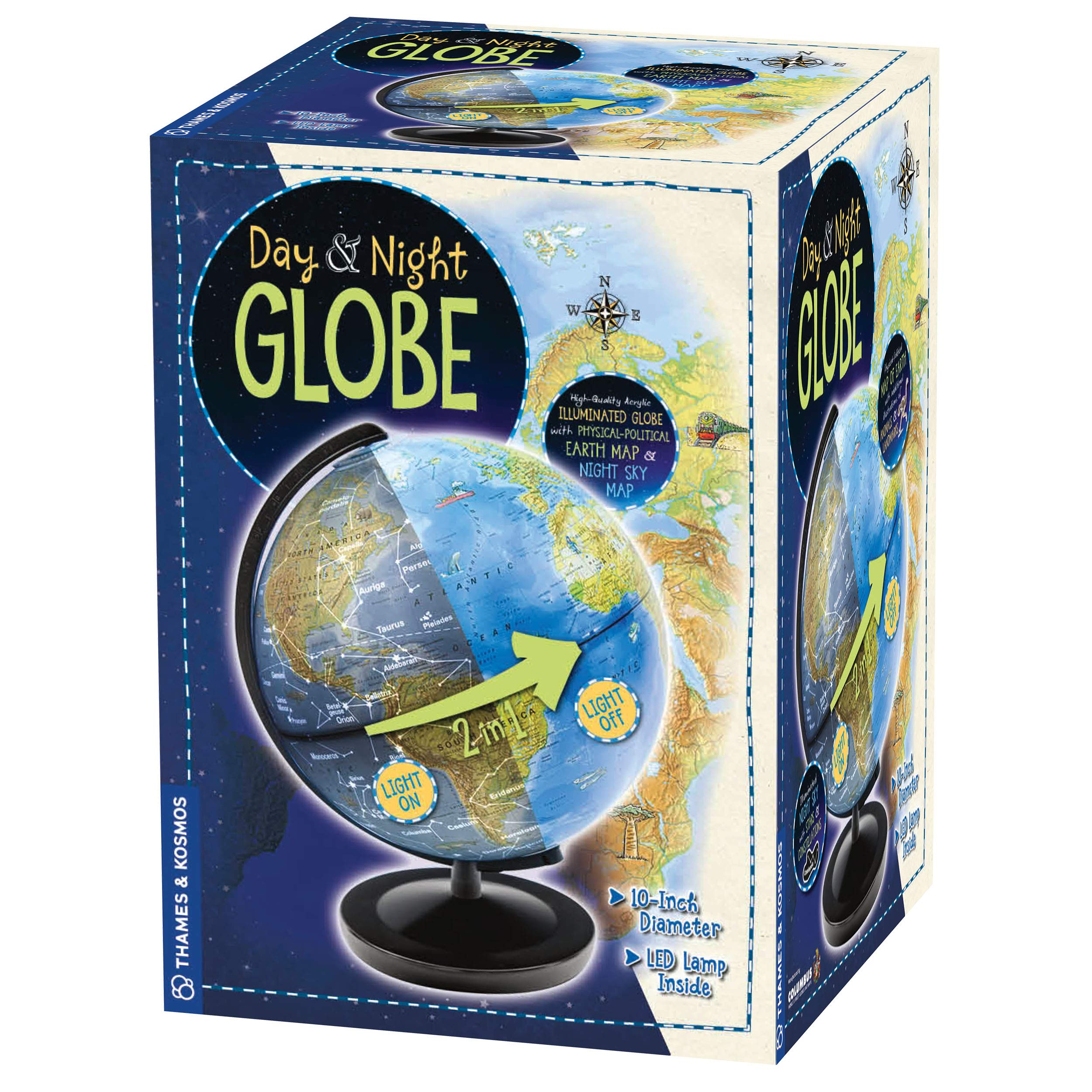 Thames & Kosmos Day & Night Globe - Handcrafted, Acrylic - Made in Germany by Columbus Globes - 10 inch, Illuminated LED Light-up with Night Sky Constellation Map by Thames & Kosmos