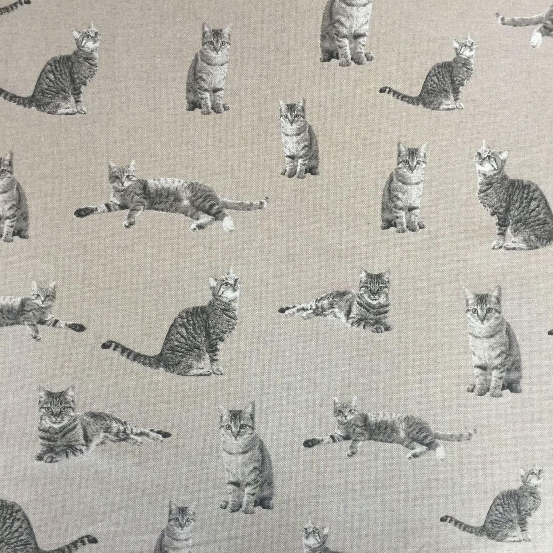 Tela de Algodón Enriquecido Lino aspecto desaliñado gato Cortina Tapicería