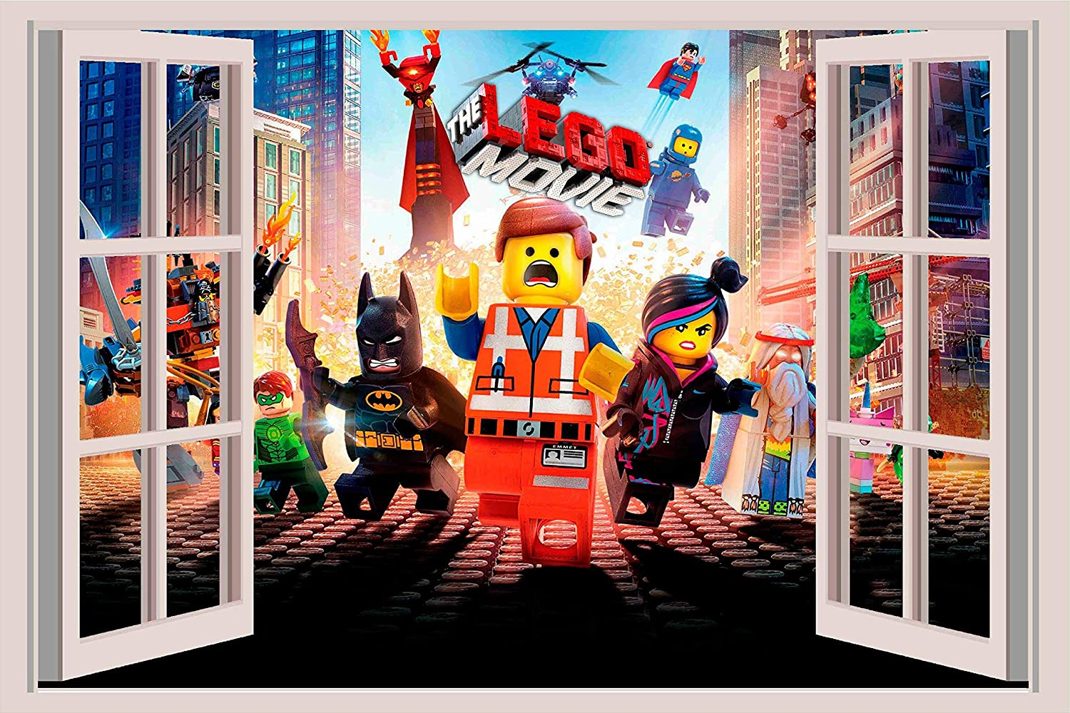 18 LEGO MOVIE Window Wall View 3D Decal Graphic Vinyl Sticker Mural Kids 24or 36