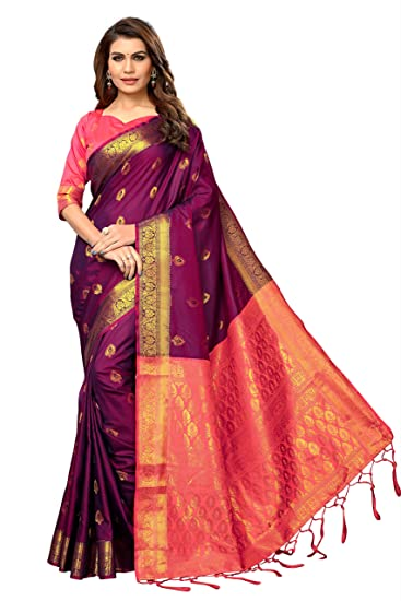 8bd14b9bf6d12c Fabrica Fab Women s Banarasi Silk Saree With Blouse Piece (Dark Purple ...