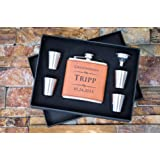 Engraved Faux Rawhide Leather Flask 6pc Gift Set - Personalized with Any Text