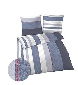 Dobnig 17554 1 Bettwäsche Set Baumwolle Blau Denim Größe 155x220