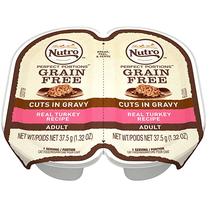 Amazon.com : NUTRO PERFECT PORTIONS Grain Free Natural Adult Wet Cat Food Cuts in Gravy Real Turkey Recipe, (24) 2.6 oz. Twin-Pack Trays : Pet Supplies