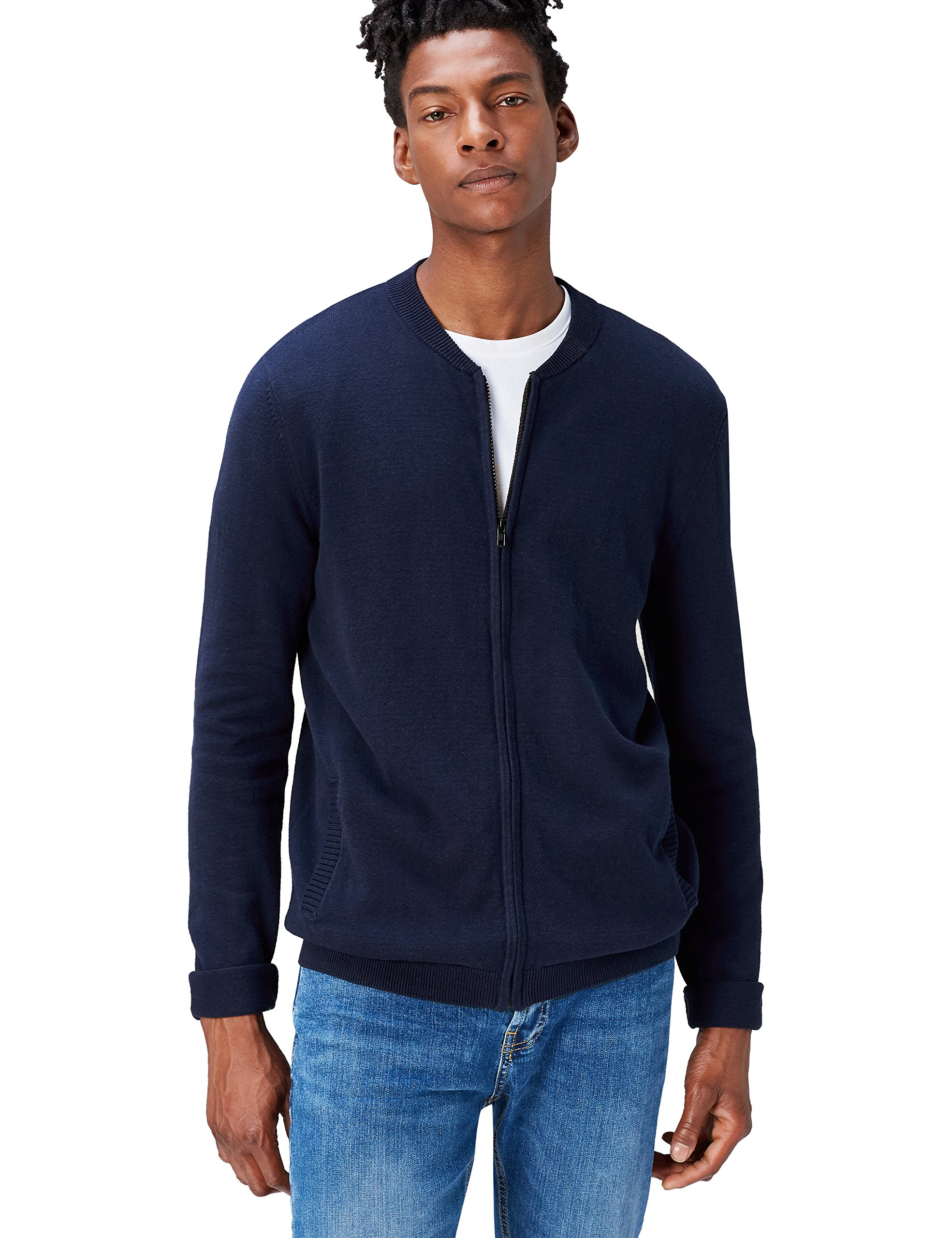 find. Men's Cotton Cardigan Sweater in Bomber Jacket Style, Blue (Navy), Large by find.