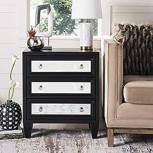Safavieh Home Marlon Black Mirrored 3-drawer Chest