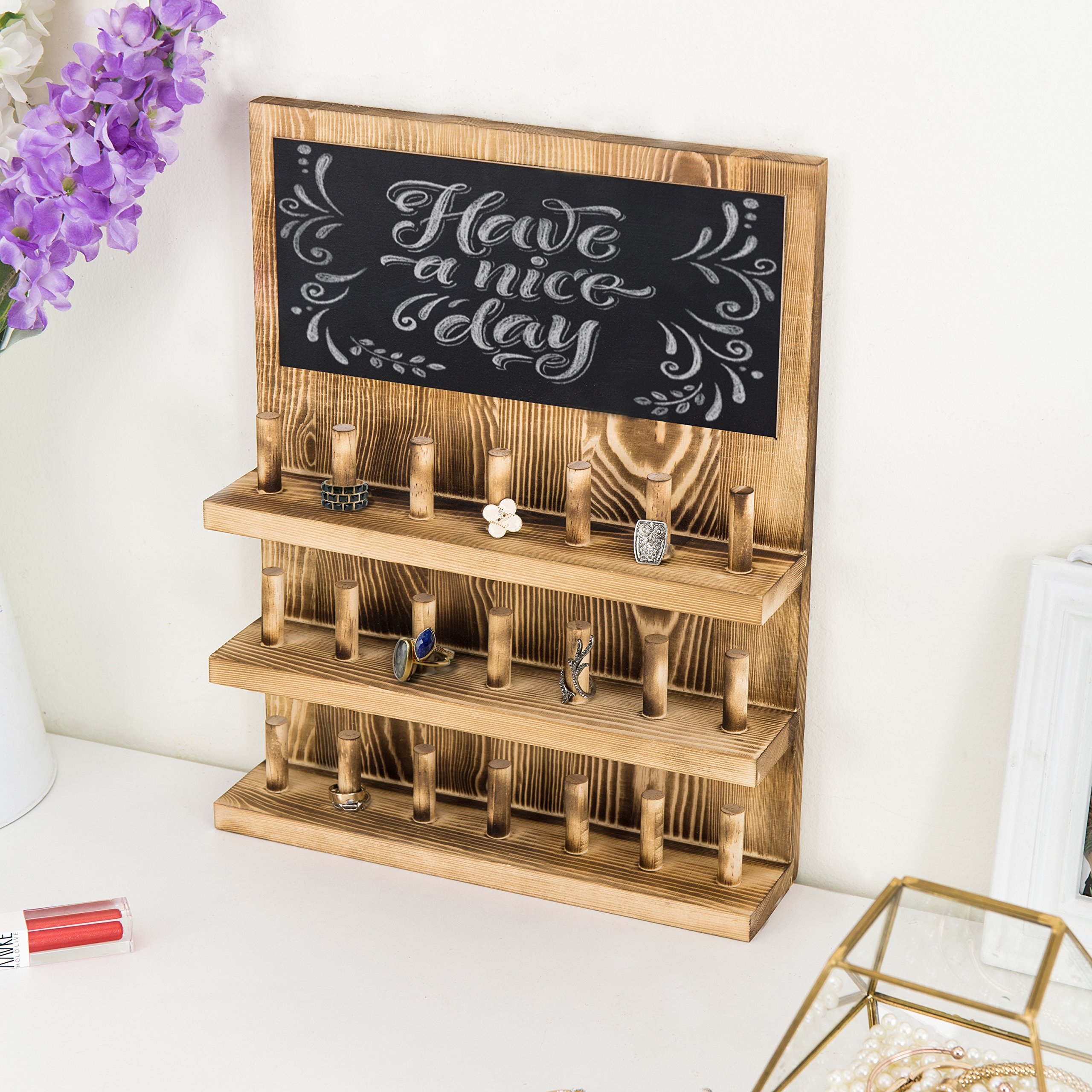 MyGift 3-Tier Wall-Mounted Wood Ring Display Rack with Chalkboard by MyGift (Image #5)