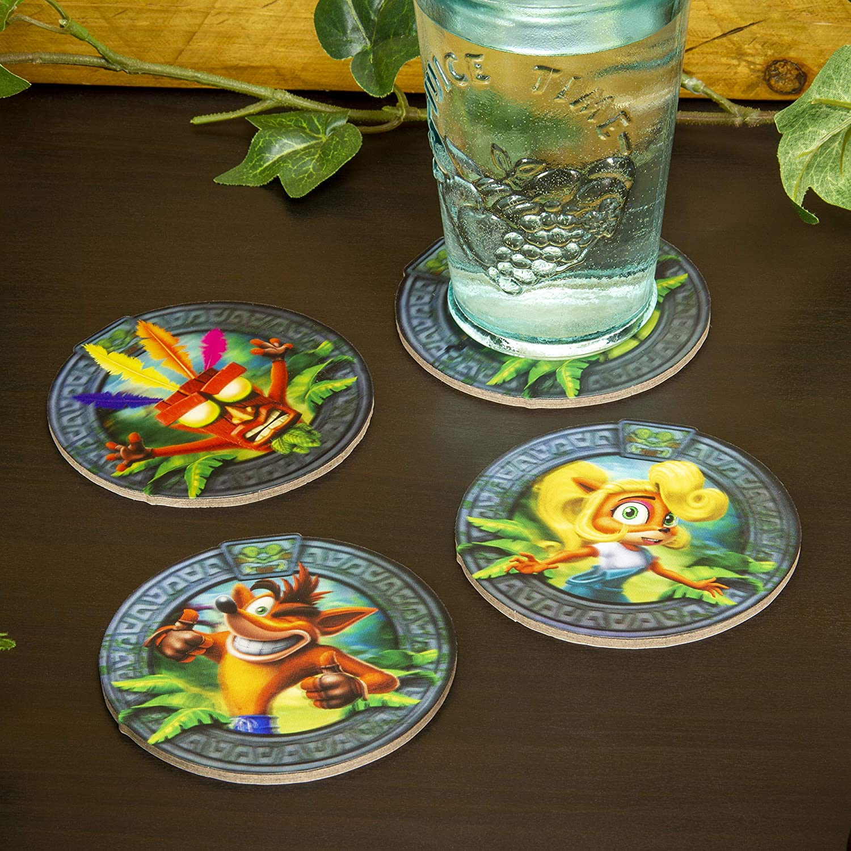 Non Slip Drinks Coaster Set of 4 Crash Bandicoot 3D Lenticular Coasters Protective Mats Premium Retro Design