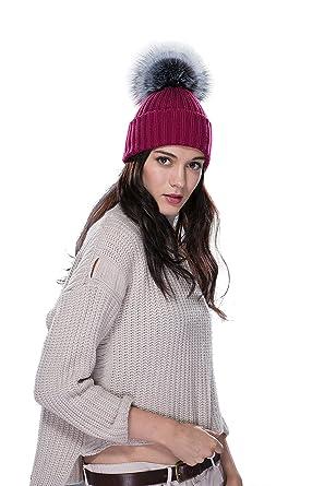 URSFUR Bonnet Chapeau Tricot Pompon Fourrure De Renard Femme Hiver  Bordeaux-Gris 33d68ba40f3