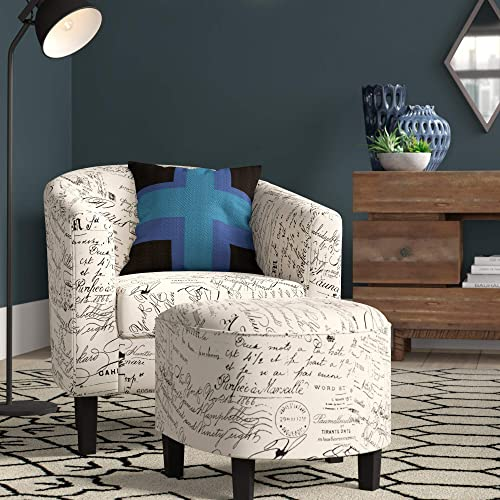 BELLEZE Accent Tub Chair Curved Back French Print Script Linen Fabric w/Ottoman Modern Stylish Round Armrest