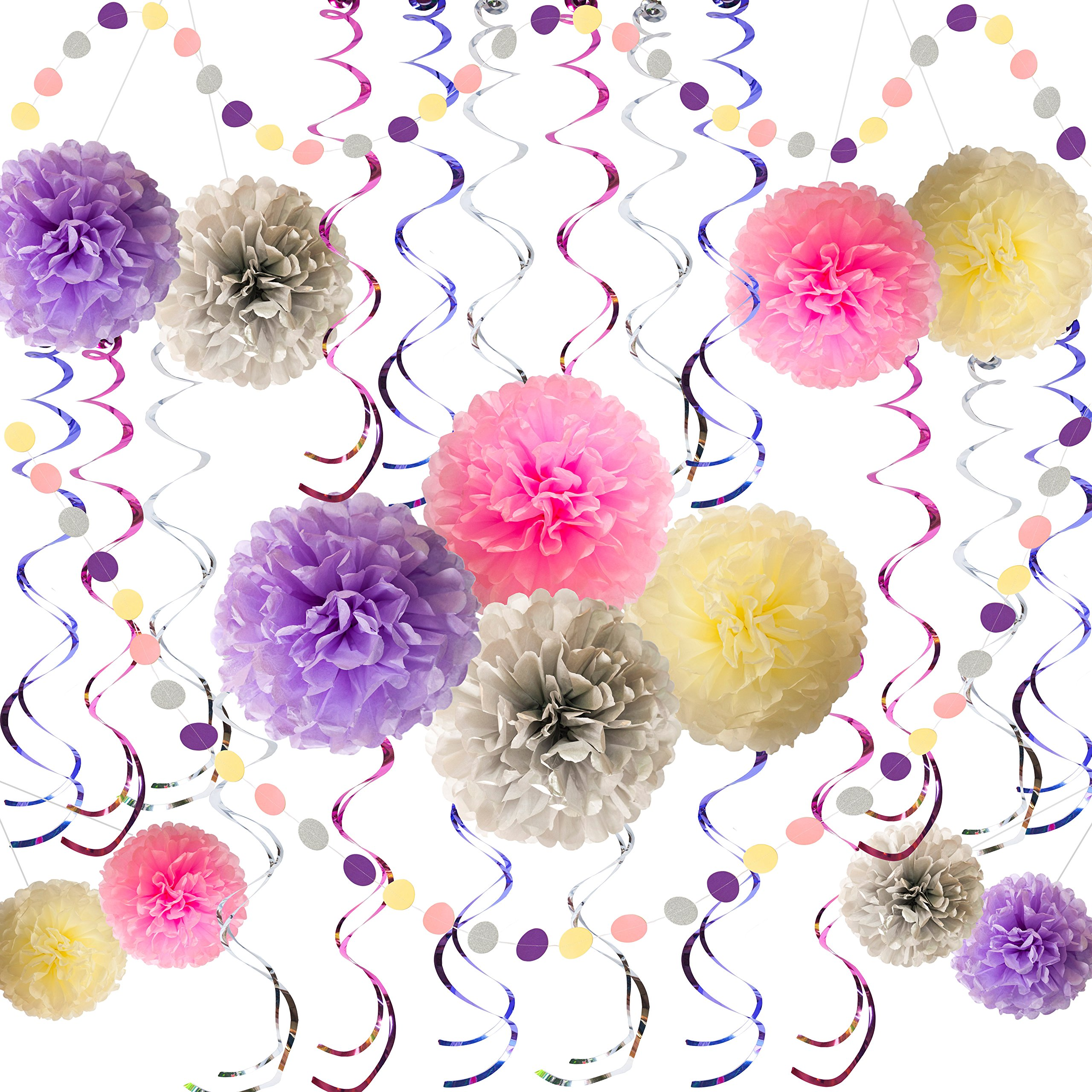 Party Decorations Kit for Girl 32 Pcs – Pink Silver Purple Cream Tissue Paper Pom Poms Flowers 12 Pcs, Circle Dot Garlands 2 Packs, Hanging Swirls 18 Pcs - Birthday Supplies for any Girls Party Theme