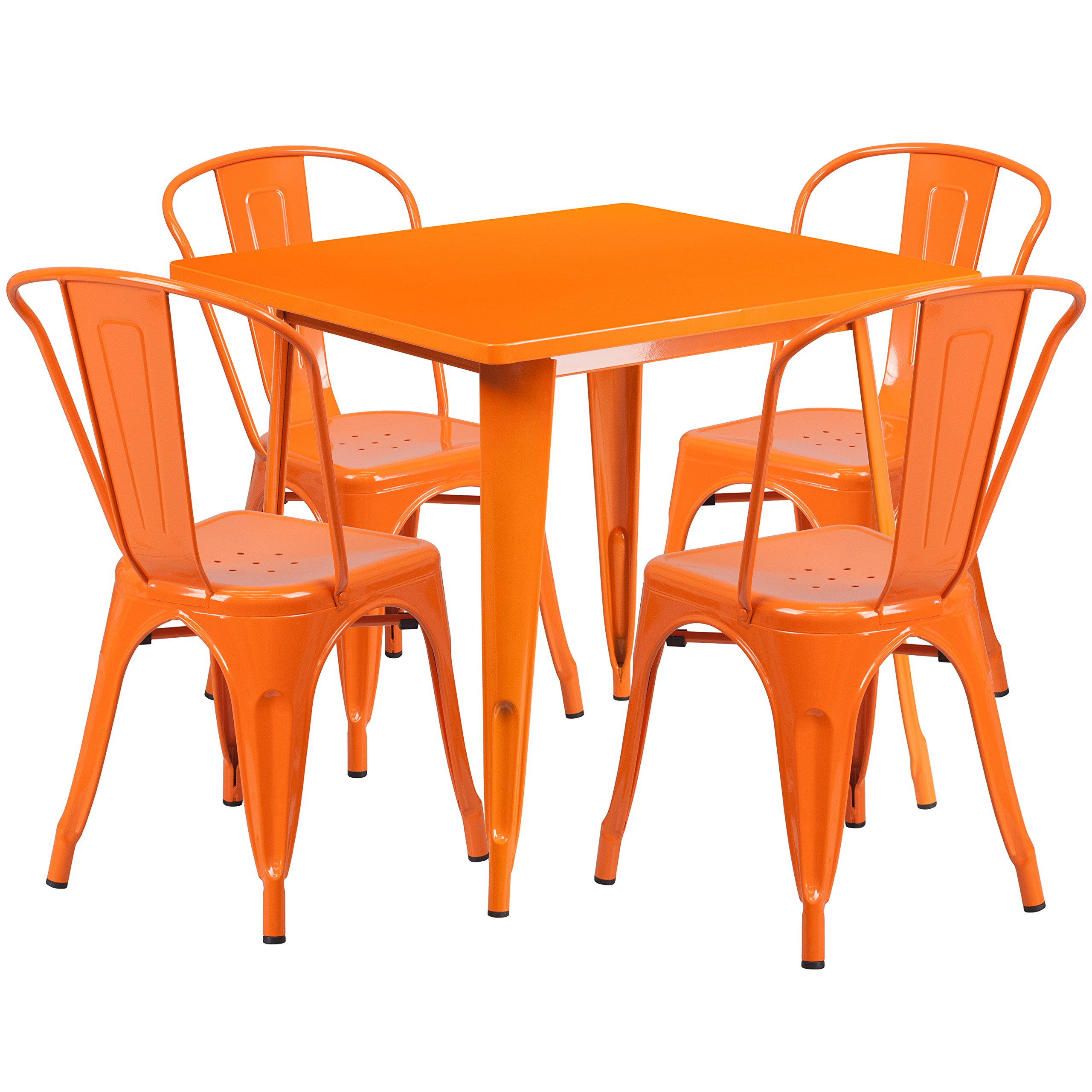 Flash Furniture 31.5'' Square Orange Metal Indoor-Outdoor Table Set with 4 Stack Chairs by Flash Furniture