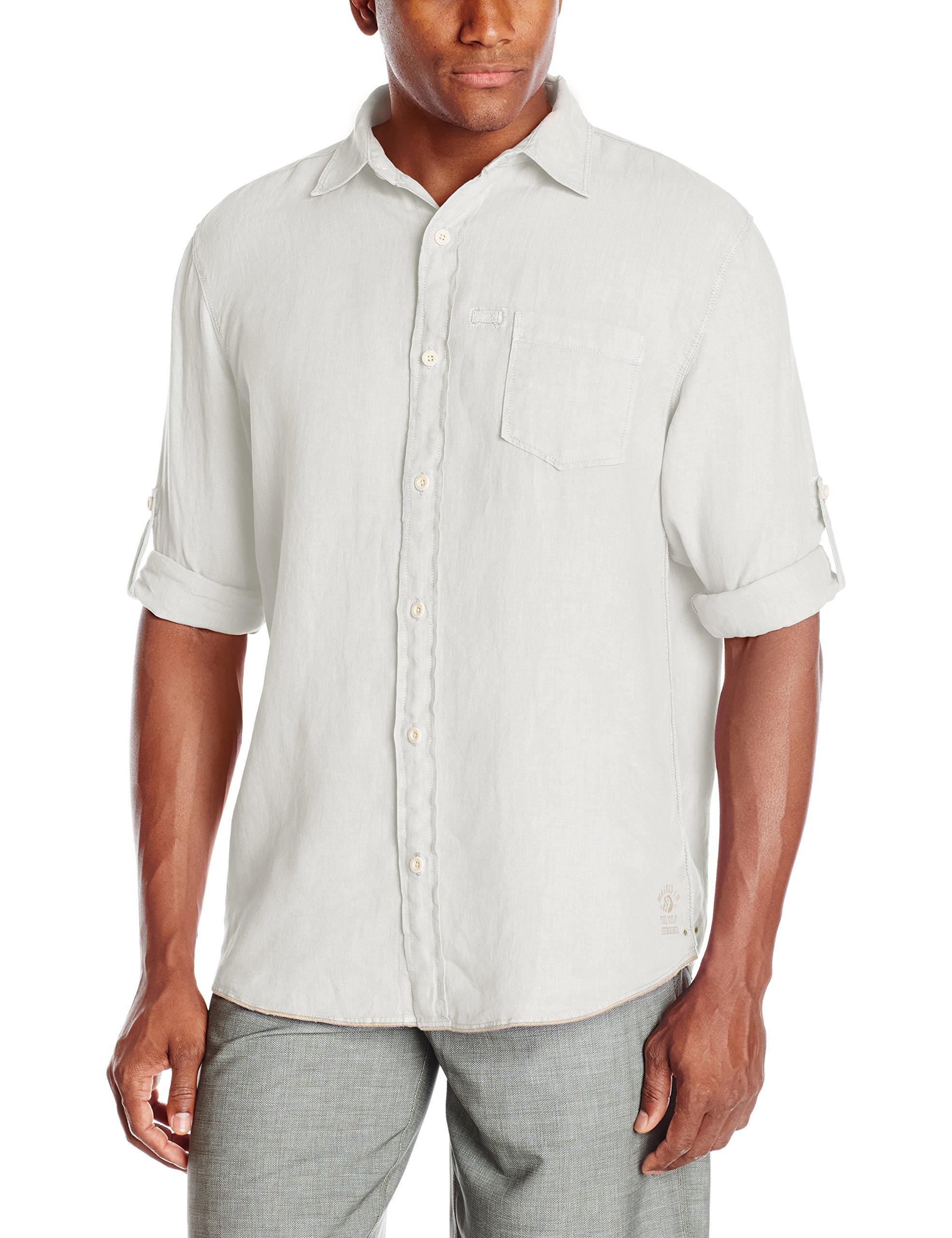 Margaritaville Men's Long Sleeve Garment Dyed Linen Shirt, Cream, X-Large