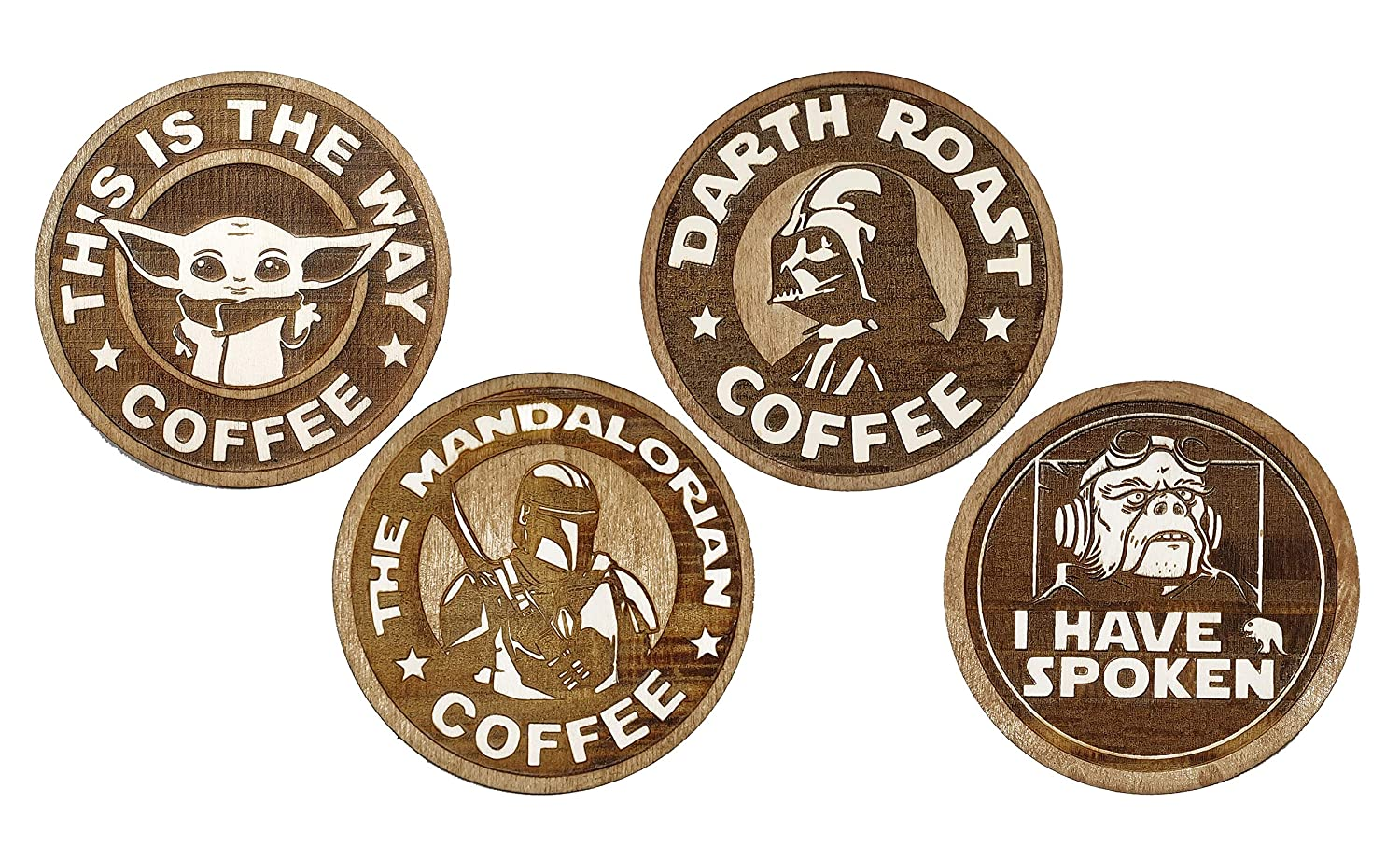 Set of 4 The Mandalorian Wood Coaster Coffee Collection Star Wars