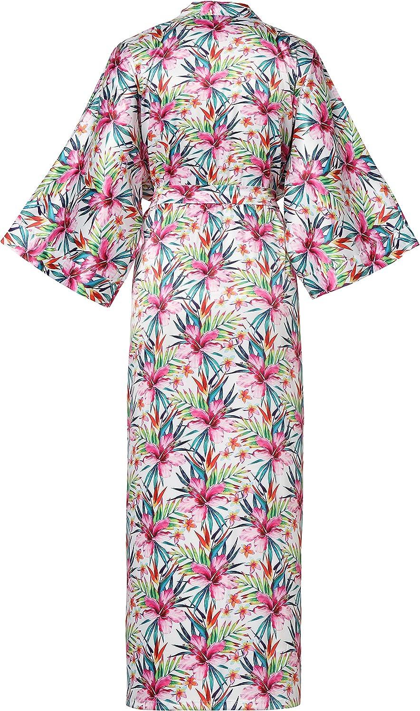 ArtiDeco Kimono da donna vestaglia Kimono in raso Robe lungo in stile giapponese cinese per pigiameria Festa in maschera da sposa in pigiama party 135 cm 53 pollici