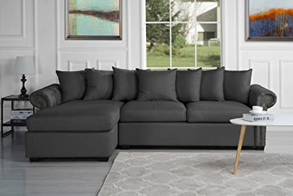 Modern Large Tufted Linen Fabric Sectional Sofa, Scroll Arm L Shape Couch  (Dark