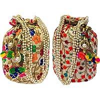 Filora Women's Ethnic Rajasthani Multicolour Silk Embroidery Party Wear Potli Bag -Combo of 2