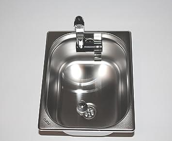 Edelstahl Spülbecken Camping Spüle Waschbecken + Ablauf 325x265x150mm  London Wasserhahn Integriert (ad Ideen)
