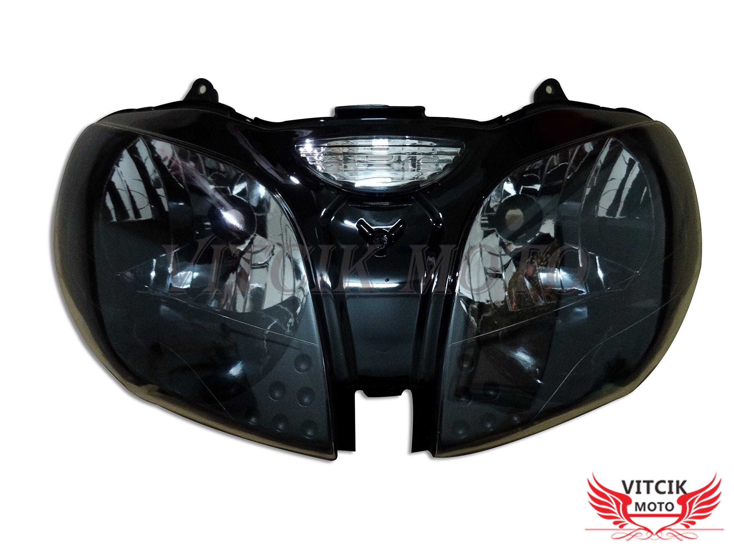 VITCIK Motorcycle Headlight Assembly for Kawasaki ZZR600 ZX600J 2000 2001 2002 2003 2004 2005 2006 2007 2008 Head Light Lamp Assembly Kit (Black)