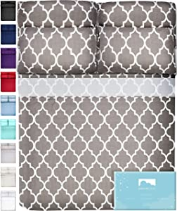 DREAMCARE 6 Piece Deep Pocket Sheets Microfiber Sheets Bed Sheets Bedding Sets King Size, Quatrefoil Gray