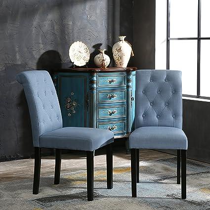 yeefy fabric habit solid wood tufted parsons dining chair set of 2 light - Parsons Dining Chairs