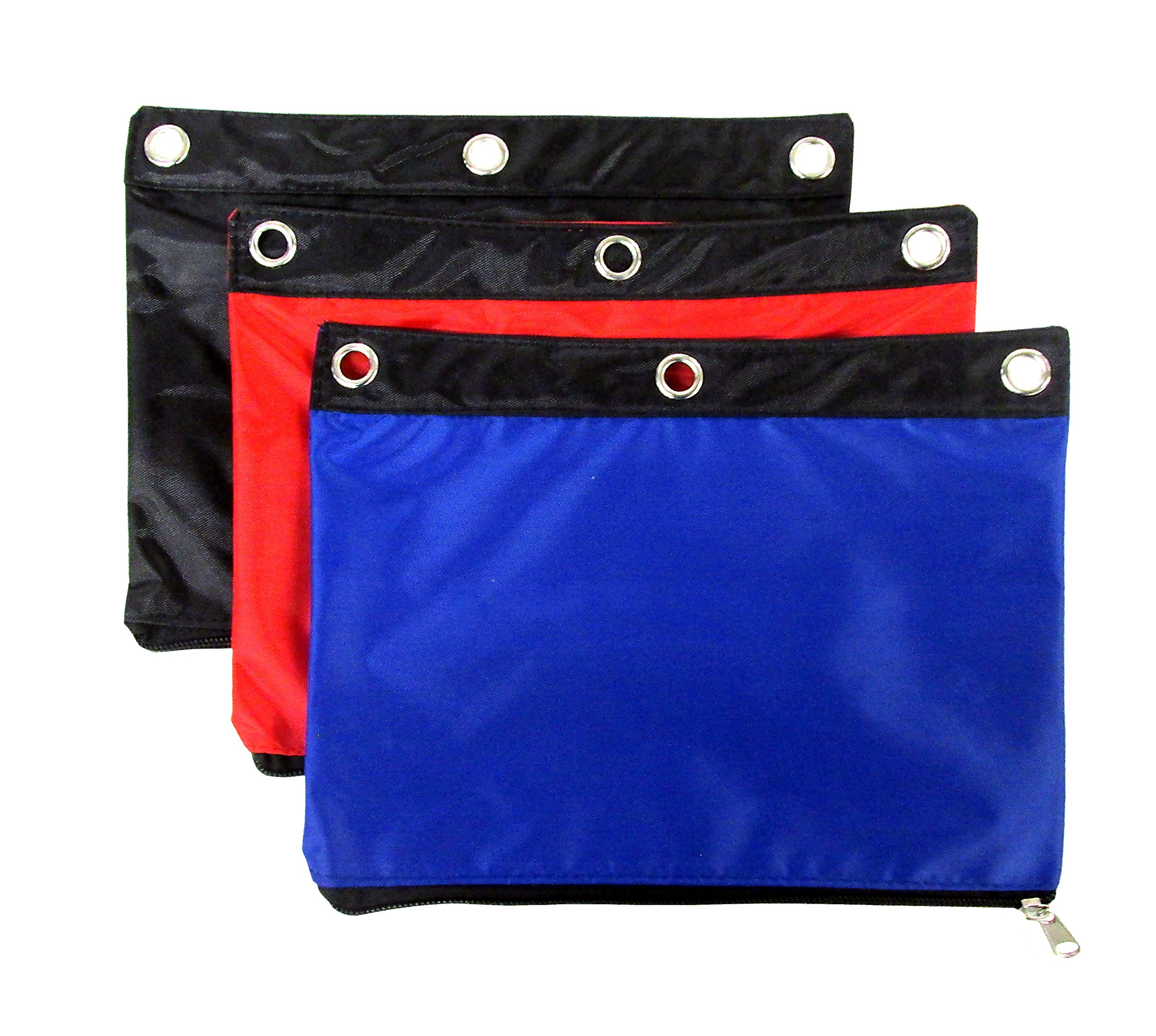 Set of 3 Pencil Pouches (9.75'' x 7.5'') - Red, Blue, Black!