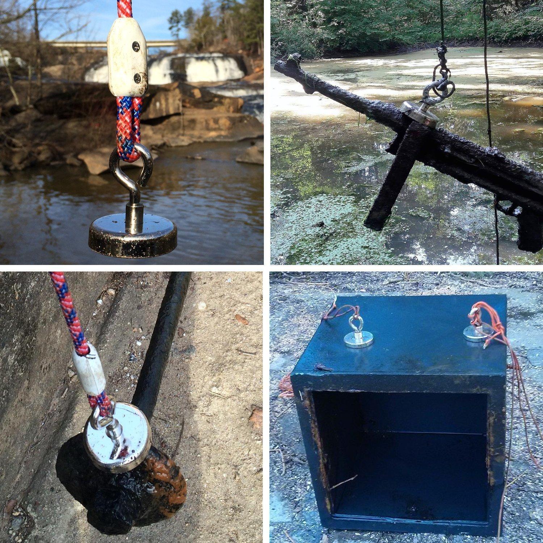 Mascot Fishing Magnet - Super Neodymium Magnet with Eyebolt,77LB (35KG) Pull Magnet,Diameter 1.26 inches (32MM) - 5 Pack