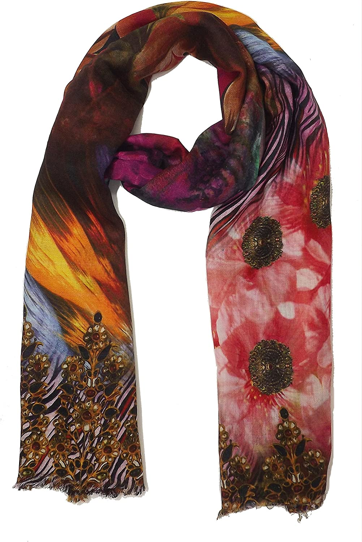 Womens Stars Print Scarf Stars Multicolour Small Wrap Stole Long Neck Wrap Voile