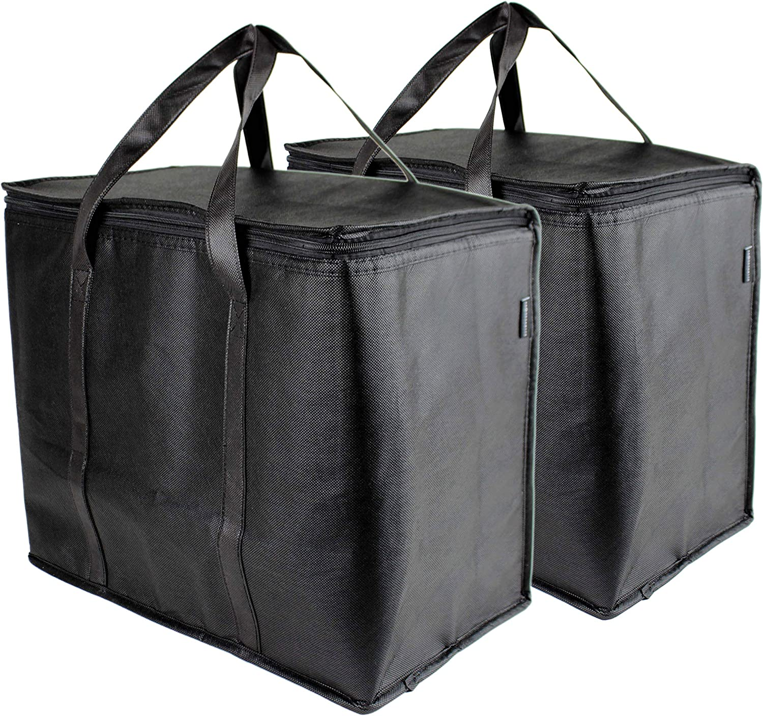 SB Organics Insulated Thermal Food Delivery Bag - Portable Lunch Bag Great for Grocery Shopping, Catering Supplies, and Food Transportation - Use as Food Warmer and Cooler - 15 x 9 x 12-Inches 2PK