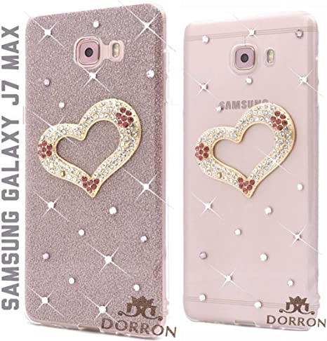 size 40 ecd98 e053e DORRON Heart Rhinestones Glitter Back TPU Cover for Samsung Galaxy J7Max  (Rose Gold)