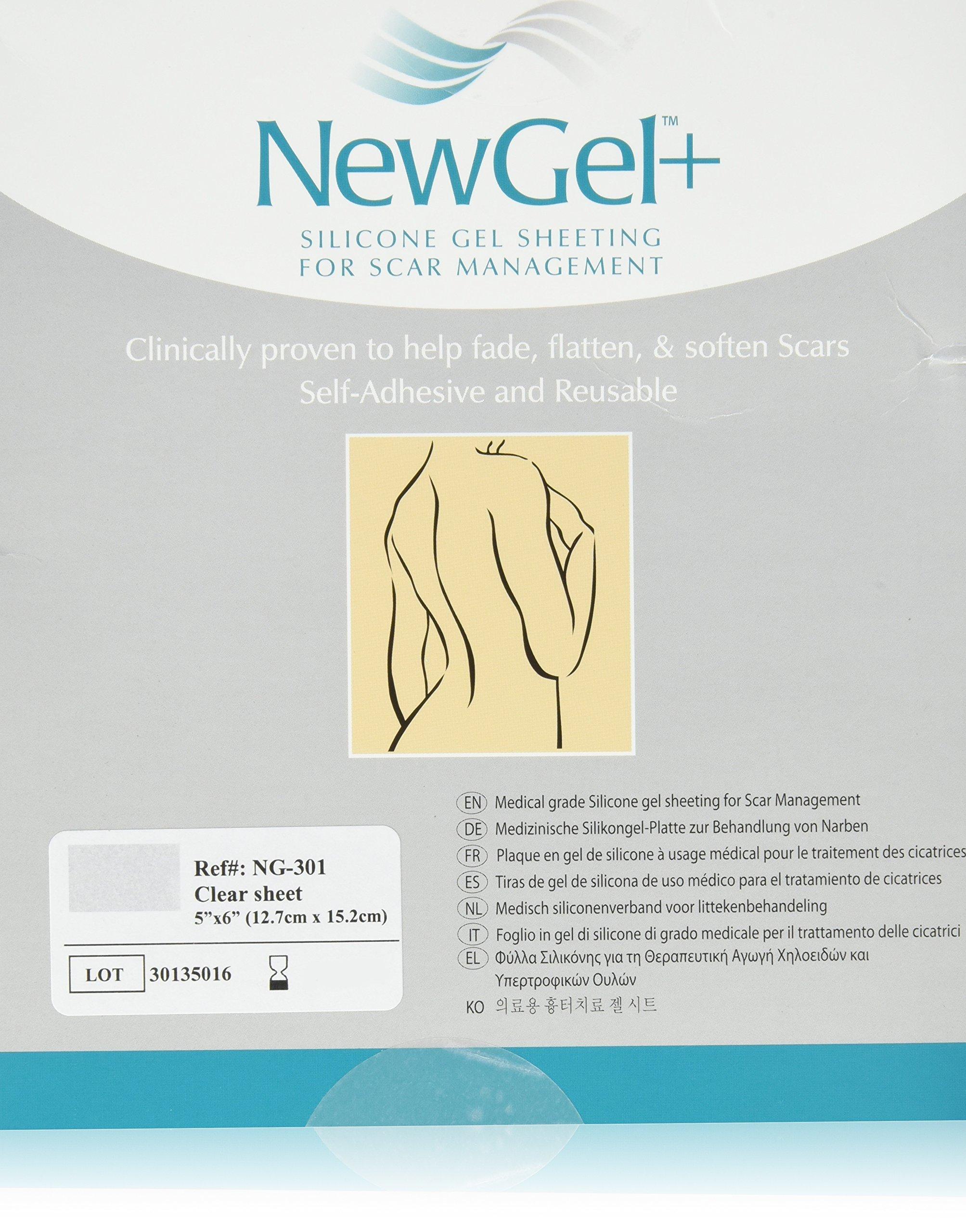 NewGel+ Silicone Gel Sheeting for Scar Management - 5inch x 6inch Sheet Clear (1 per box) by New Gel