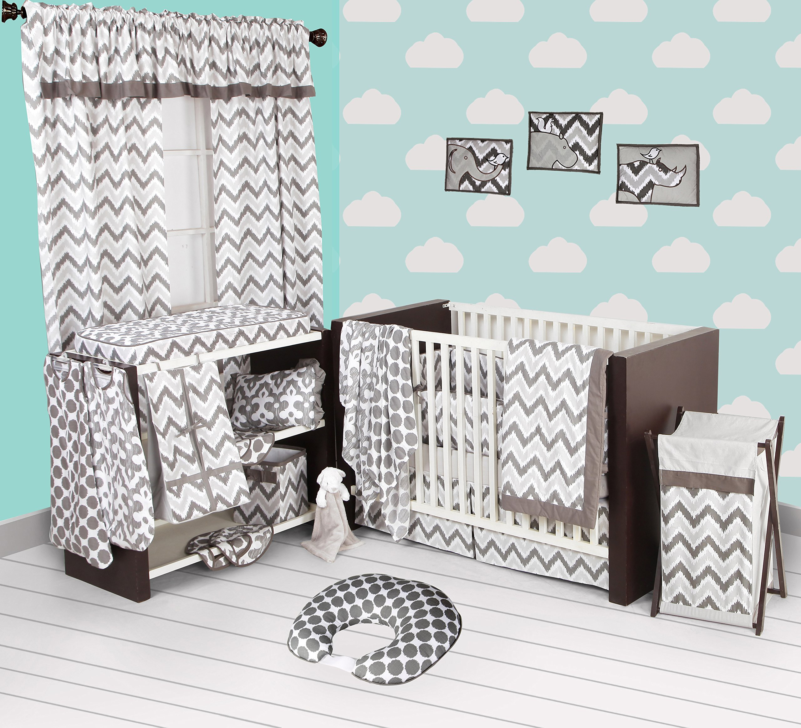 Bacati Grey Ikat Chevron Muslin 10 Piece Crib Set with Bumper Pad
