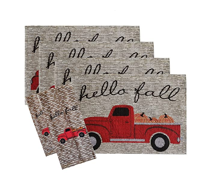 Amazon Com Red Truck Fall Kitchen Set Four Tapestry Placemats And