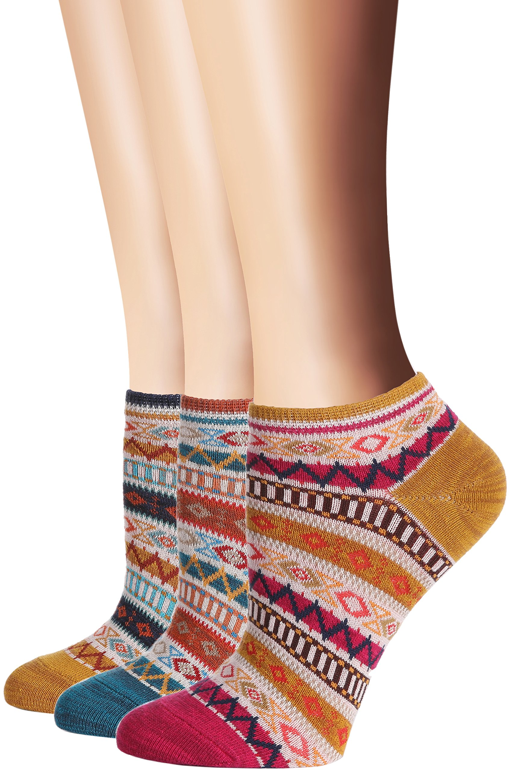 Flora&Fred Women's 3 Pair Pack Vintage Style Patchwork Cotton No Show Socks