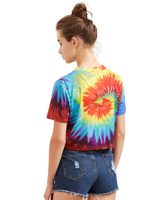 04796c2ccc SheIn Women's Tie Dye Print Round Neck Short Sleeve Crop T-Shirt Top at  Amazon Women's Clothing store: