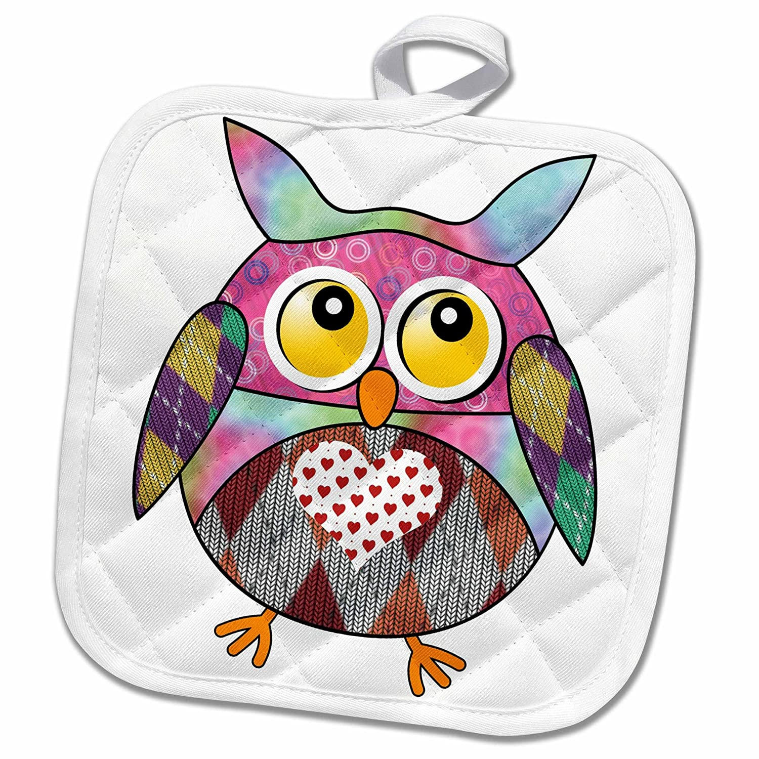 3D Rose Cute Little Owl with Heart On Chest Pot Holder 8 x 8