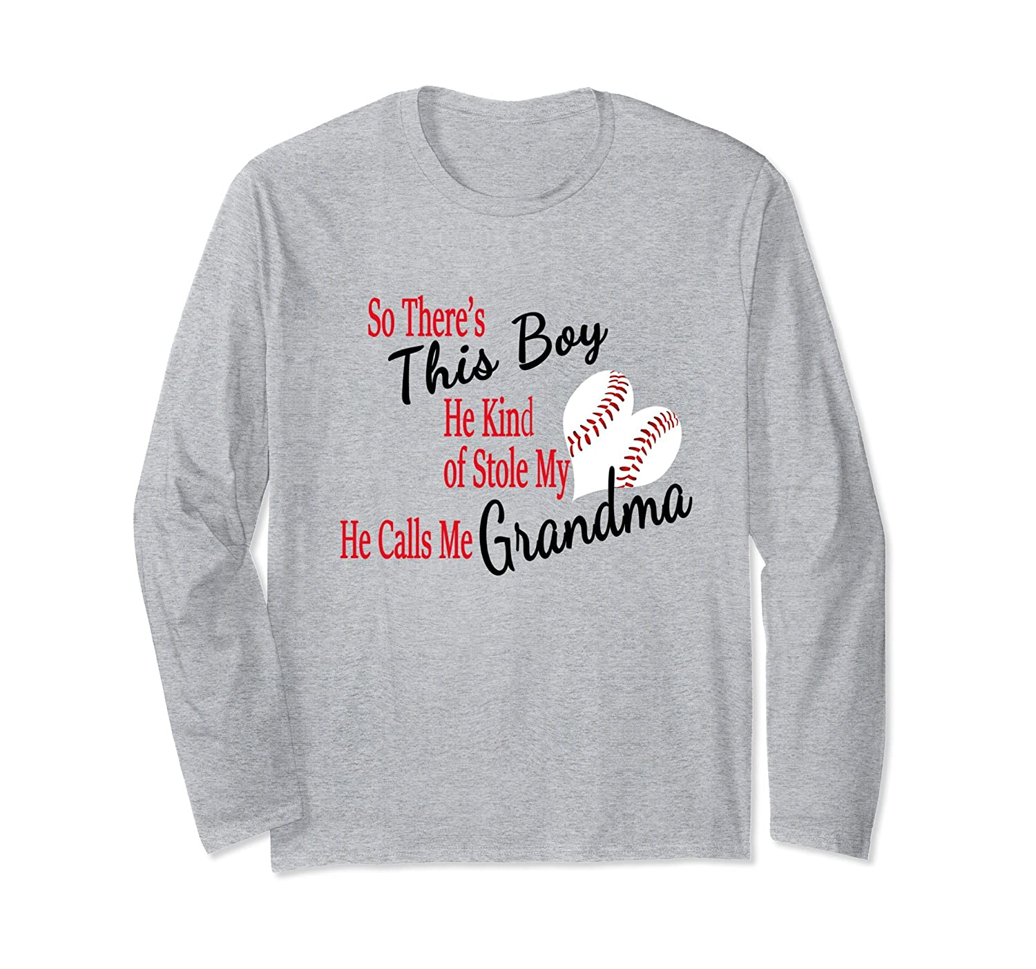 Proud Grandma Baseball Boy Stole My Heart Long Sleeve Tee-TH