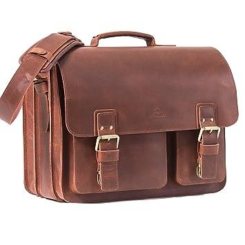 0203279c6c ALMADIH sac en cuir *SAM* Cartable XL bandoulière Marron Vintage serviette  sac porté épaule