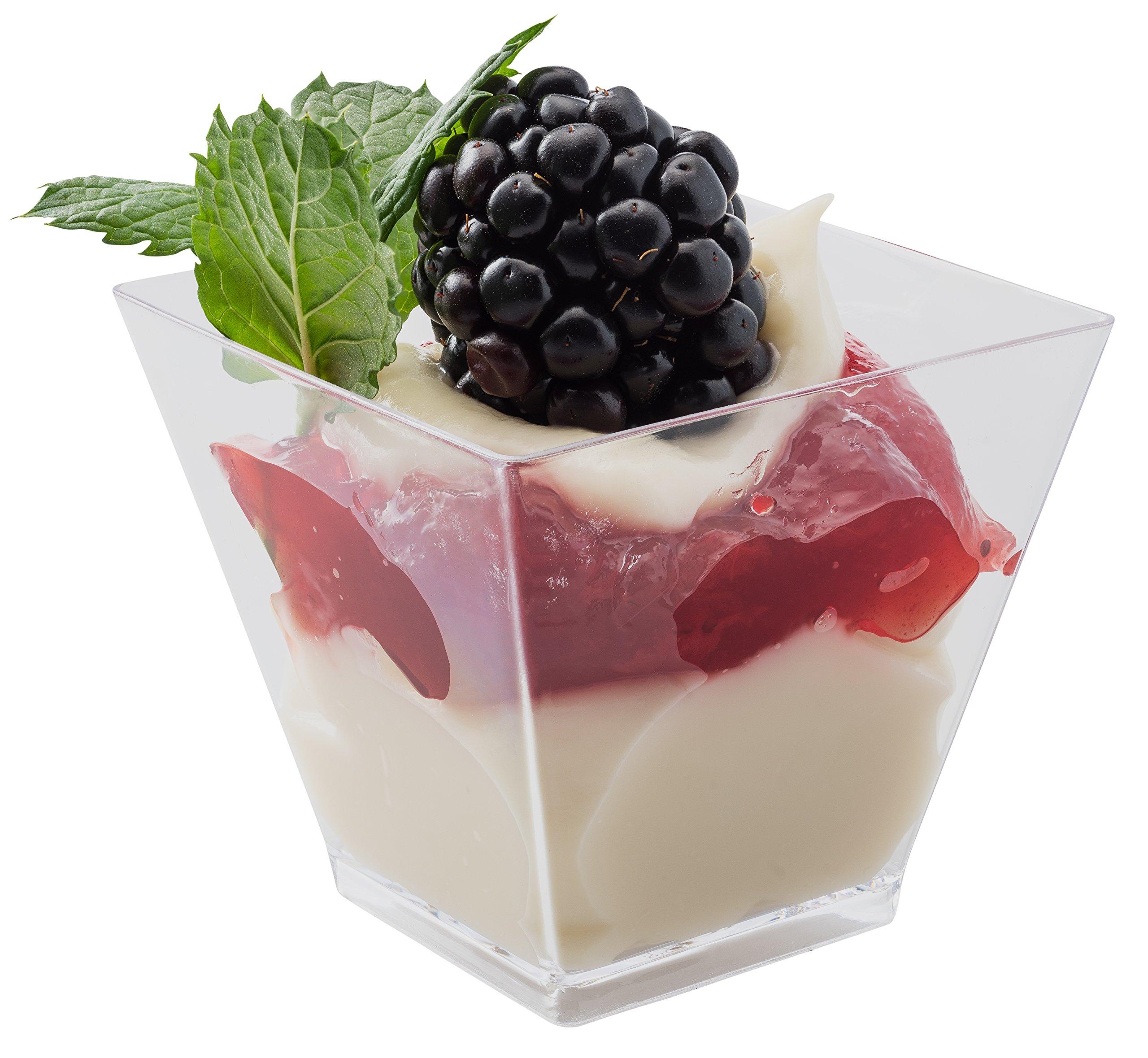 48 2oz. Plastic Clear Square Stylish Mini Dessert Cups, 2oz Shot Plastic Glasses, by Prextex