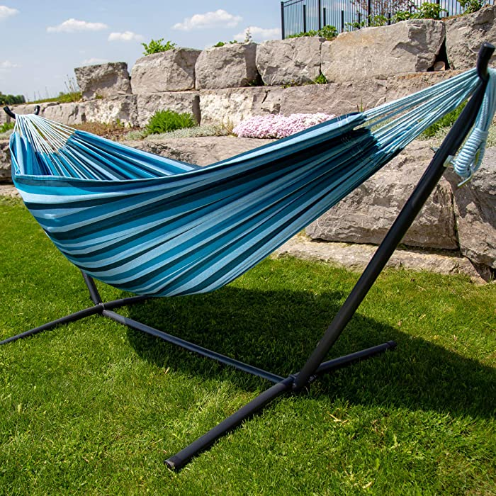 Vivere Double Cotton Hammock with Space Saving Steel Stand, Blue Lagoon (450 lb Capacity - Premium Carry Bag Included)