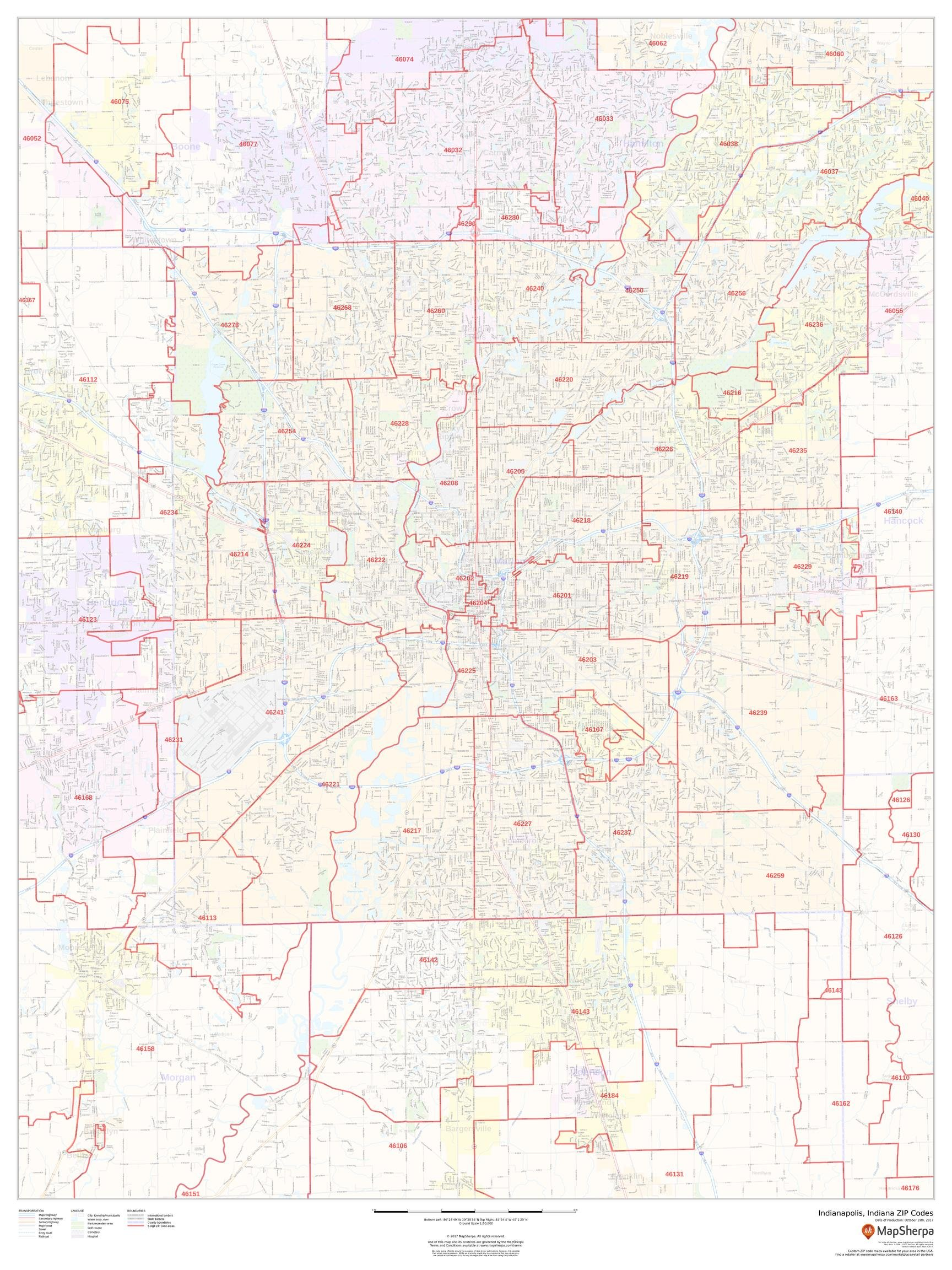 Indianapolis, Indiana ZIP Codes - 36 x 48 inches - Laminated - Flat Tubed