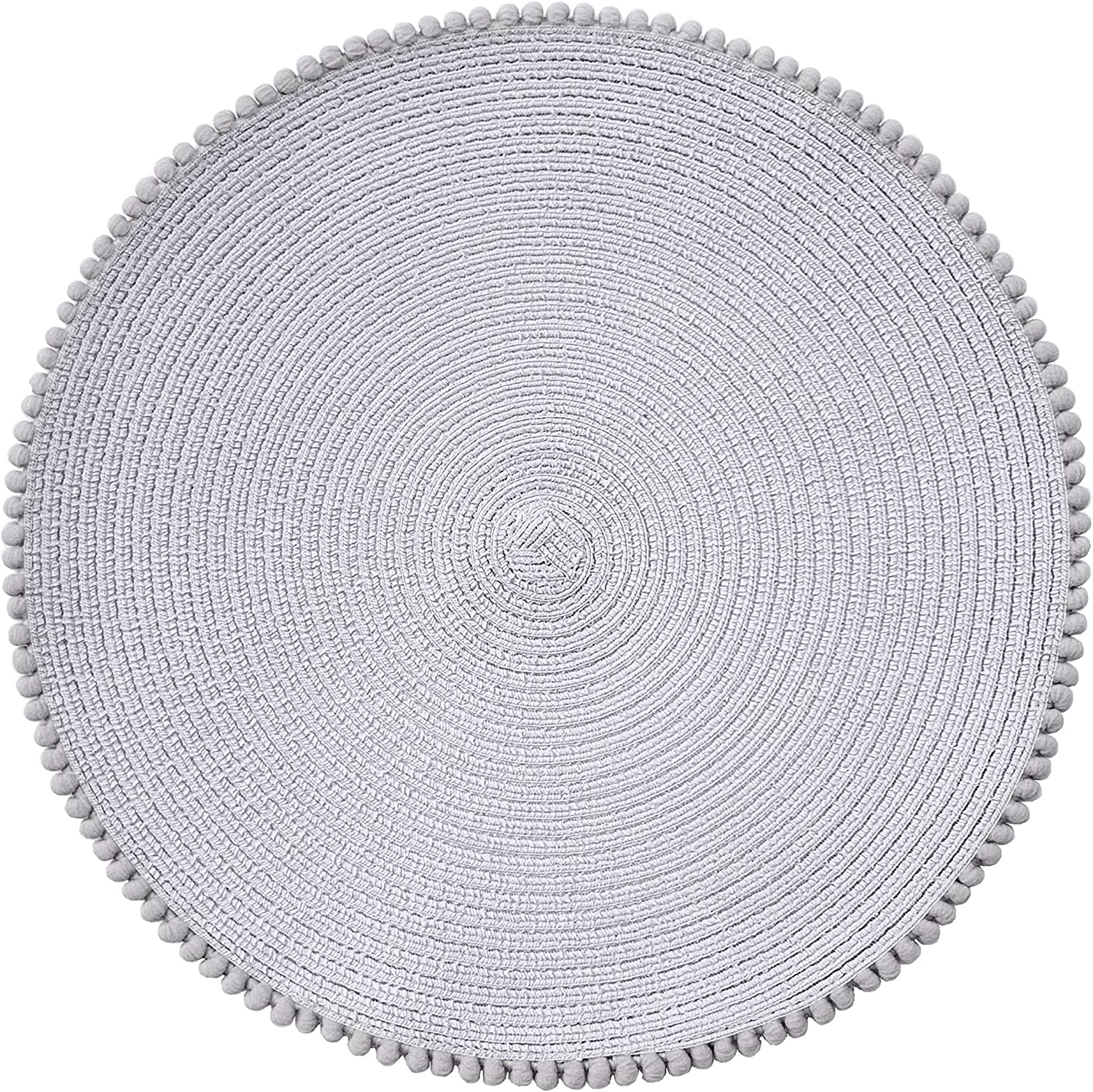 Round Placemats for Dining Table Set of 4, Size in 15 inches Diameter. Circular Place mat with pom poms Trim (Light Grey)