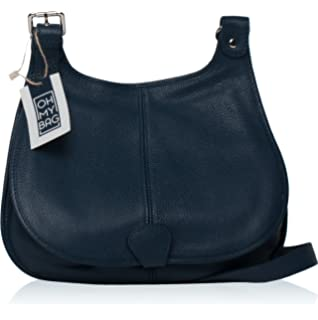 dde718b9fe OH MY BAG Sac à main en cuir lisse Vintage bleu fonce: Amazon.fr ...