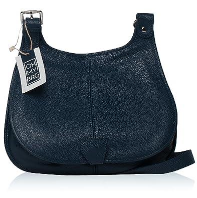 2449231433 OH MY BAG Sac à main besace cuir Petra (grand) bleu fonce: Amazon.fr ...