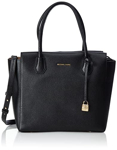 Michael Kors Studio Mercer Large Leather Satchel (Black): Handbags ...
