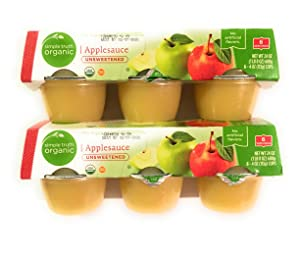 2 Packages Simple Truth Organic Applesauce Unsweetened 4 Ounce Cups For Snacks, Lunch and Games. (6 Cups Per Packages Total of 12 Cups)